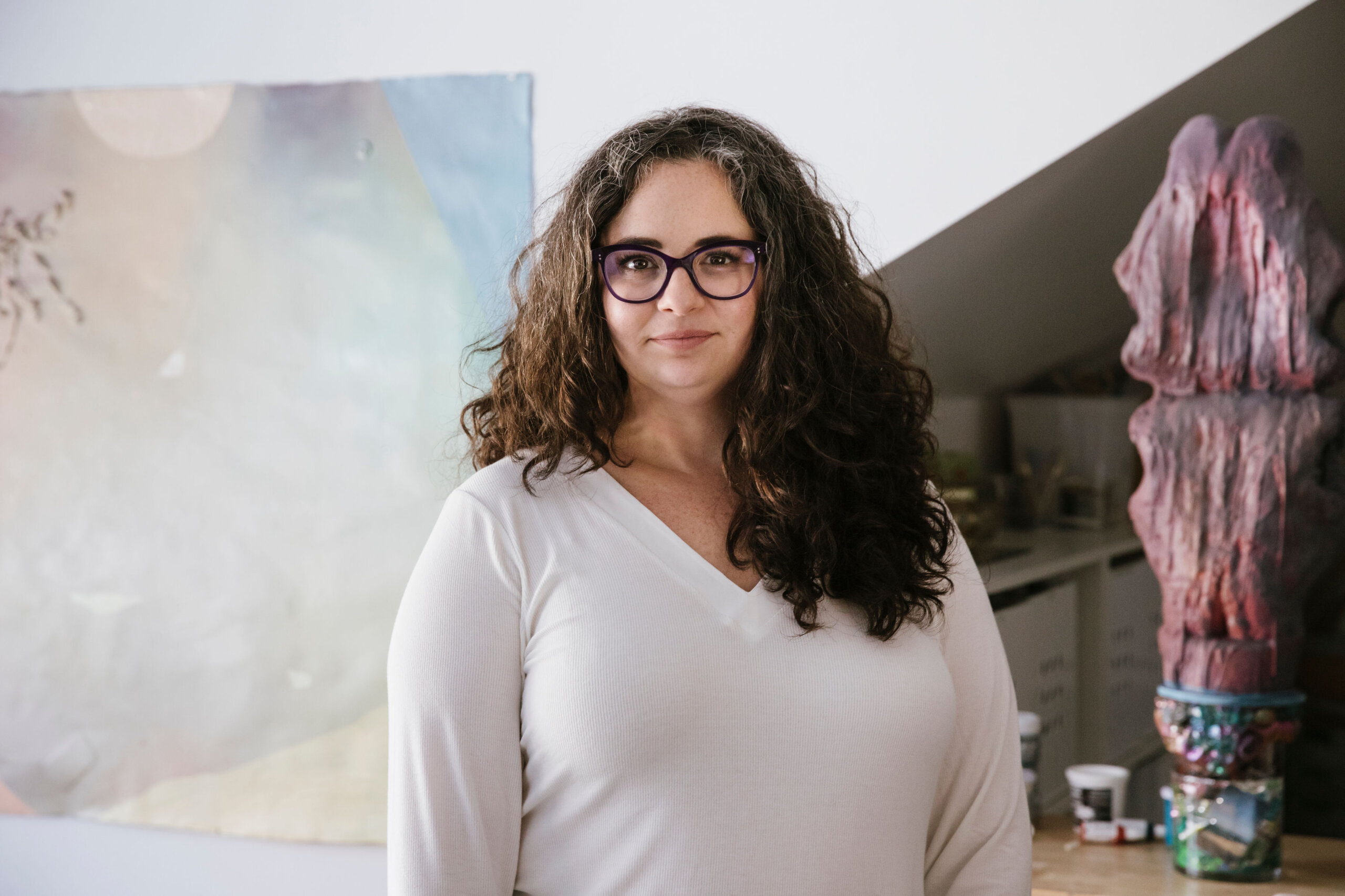 Rachel Klinghoffer artist portrait with family at her studio in South Orange, New Jersey.